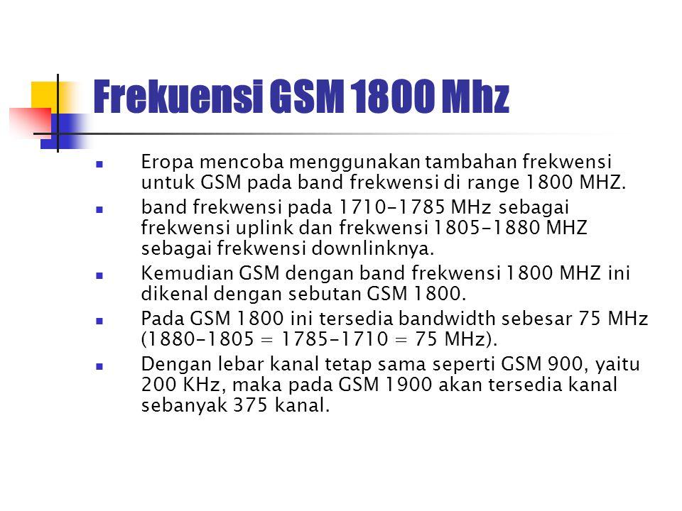 Frekuensi GSM 1800 Mhz Eropa mencoba menggunakan tambahan frekwensi untuk GSM pada band frekwensi di range 1800 MHZ. band frekwensi pada 1710-1785 MHz
