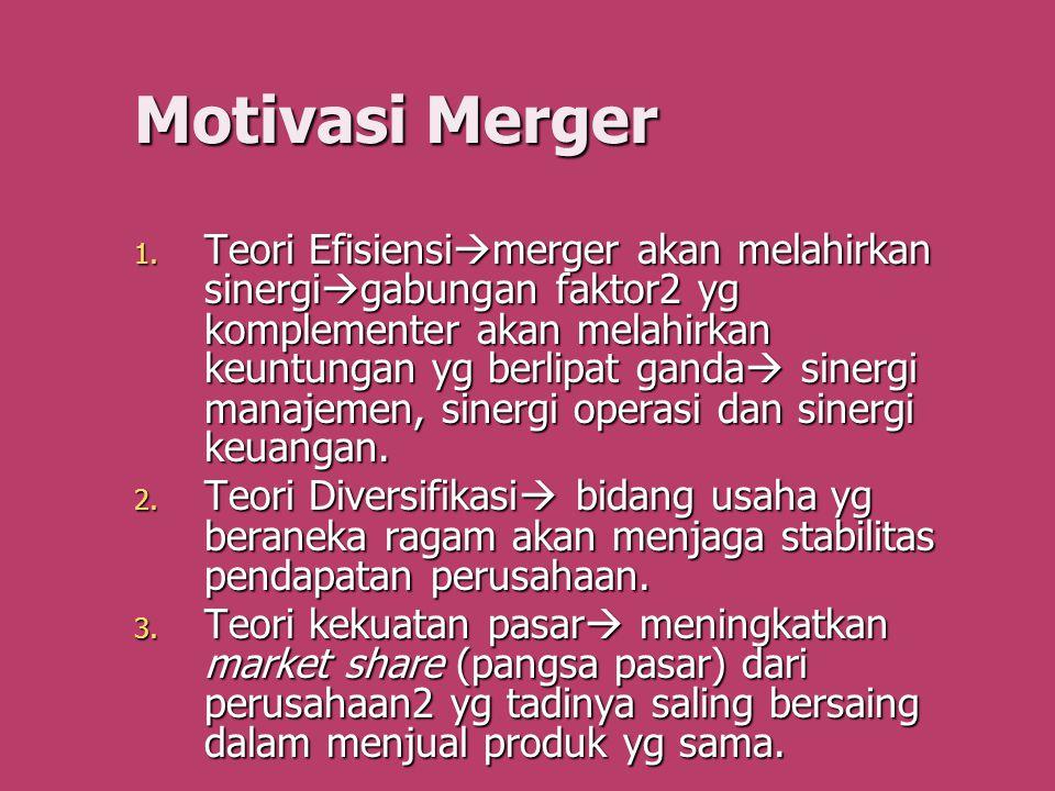 Motivasi Merger 1. Teori Efisiensi  merger akan melahirkan sinergi  gabungan faktor2 yg komplementer akan melahirkan keuntungan yg berlipat ganda 