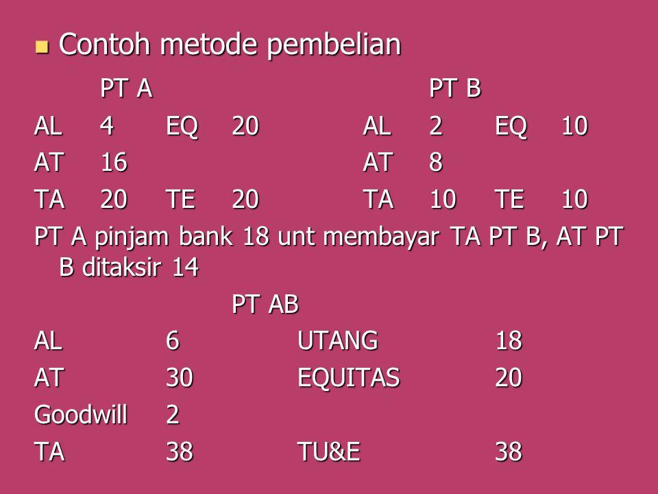 Contoh metode pembelian Contoh metode pembelian PT APT B AL4EQ20AL2EQ10 AT16AT8 TA20TE20TA10TE10 PT A pinjam bank 18 unt membayar TA PT B, AT PT B dit