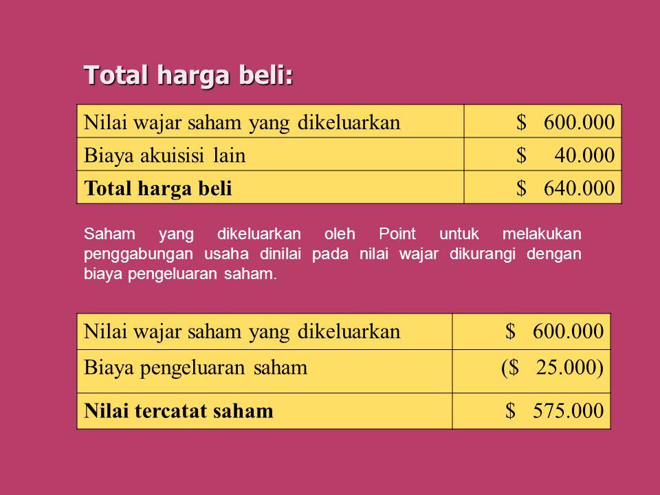 Total harga beli: Saham yang dikeluarkan oleh Point untuk melakukan penggabungan usaha dinilai pada nilai wajar dikurangi dengan biaya pengeluaran sah