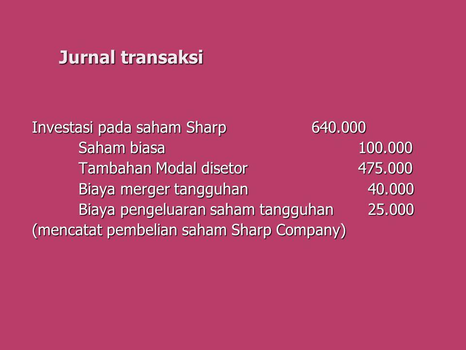 Jurnal transaksi Investasi pada saham Sharp640.000 Saham biasa100.000 Saham biasa100.000 Tambahan Modal disetor475.000 Biaya merger tangguhan 40.000 B