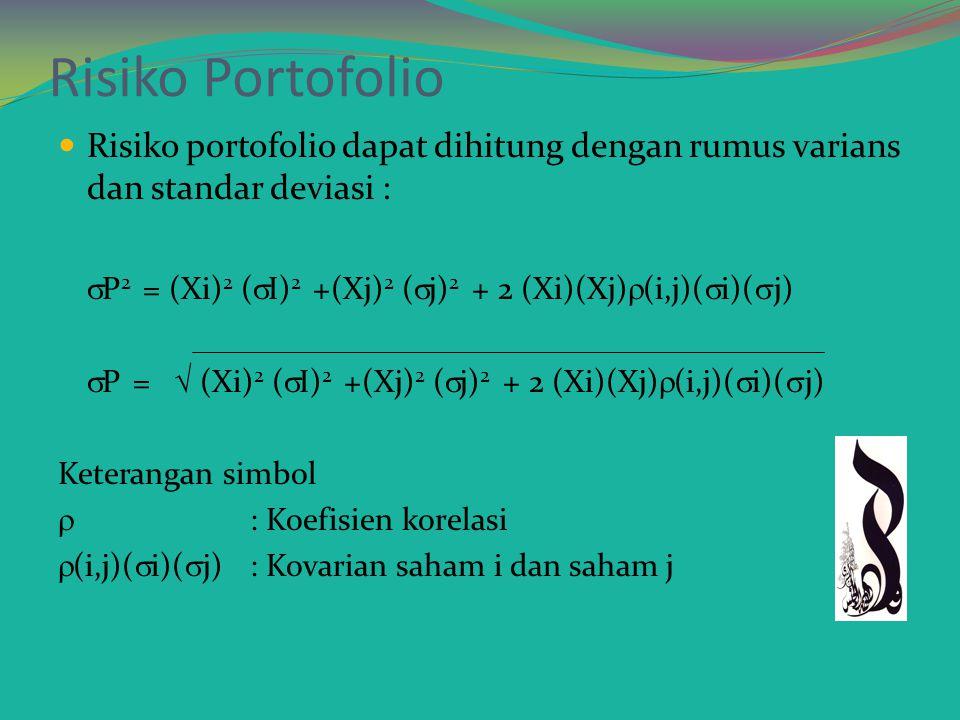 Risiko portofolio E(R)p = W 1 R 1 + W 2 R 2 + …WnRn  p =  w 2 1  2 1 +   w 1 w 2  12  12 = Covarian saham 1 dan 2 =  12  1  2  12 = Korelasi saham 1 dan saham 2