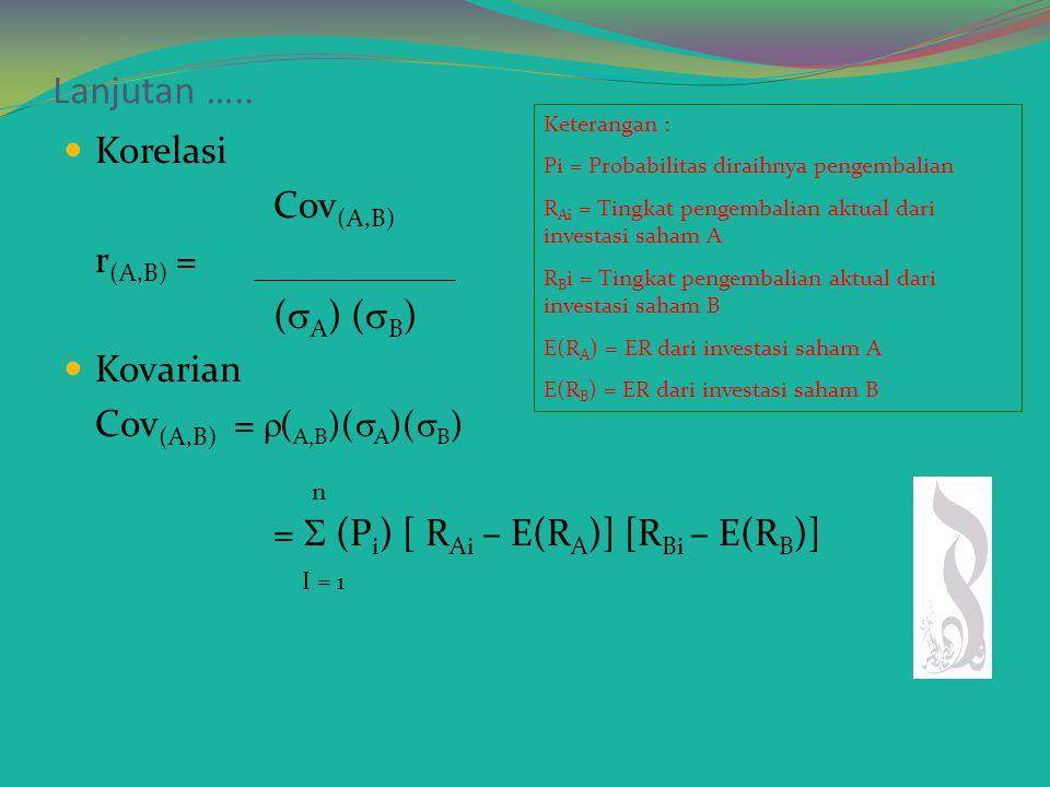 Risiko Portofolio Risiko portofolio dapat dihitung dengan rumus varians dan standar deviasi :  P 2 = (Xi) 2 (  I) 2 +(Xj) 2 (  j) 2 + 2 (Xi)(Xj)  (i,j)(  i)(  j)  P =  (Xi) 2 (  I) 2 +(Xj) 2 (  j) 2 + 2 (Xi)(Xj)  (i,j)(  i)(  j) Keterangan simbol  : Koefisien korelasi  (i,j)(  i)(  j): Kovarian saham i dan saham j