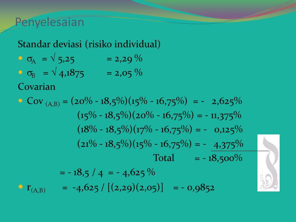 Penyelesaian E(R A ) = (20% + 15% + 18% + 21%) / 4 = 18, 5 % E(R B ) = (15% + 20% + 17% + 15%) / 4 = 16,75 % Varian dari investasi  A 2 = [(20% - 18,5%) 2 + (15% - 18,5%) 2 + (18% - 18,5%) 2 + (21% - 18,5%) 2 ] /4 = (2,25 + 12,25 + 0,25 + 6,25) / 4 = 5,25  B 2 = [(15% - 16,75%) 2 + (20% - 16,75%) 2 + (17% - 16,75%) 2 + (15% - 16,75%) 2 ] /4 = (3,0625 + 120,5625 + 0,0625 + 3,0625) / 4 = 4,187