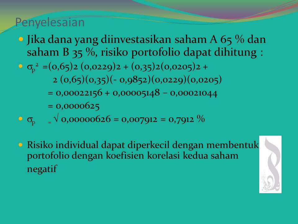 Penyelesaian Standar deviasi (risiko individual)  A =  5,25 = 2,29 %  B =  4,1875= 2,05 % Covarian Cov (A,B) = (20% - 18,5%)(15% - 16,75%) = - 2,625% (15% - 18,5%)(20% - 16,75%) = - 11,375% (18% - 18,5%)(17% - 16,75%) = - 0,125% (21% - 18,5%)(15% - 16,75%) = - 4,375% Total = - 18,500% = - 18,5 / 4 = - 4,625 % r (A,B) = -4,625 / [(2,29)(2,05)] = - 0,9852