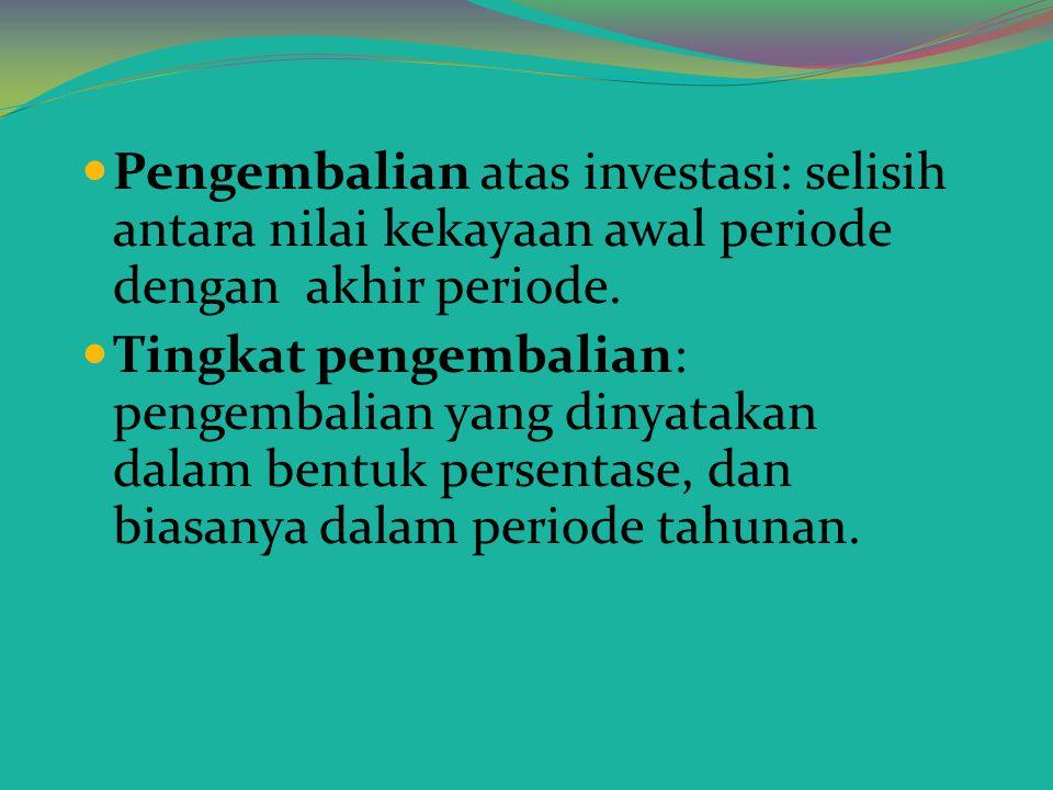 RESIKO DAN TINGKAT PENGEMBALIAN Setiap Investasi, baik dalam real asset maupun financial asset mempunyai resiko. Investasi dalam real asset memiliki r