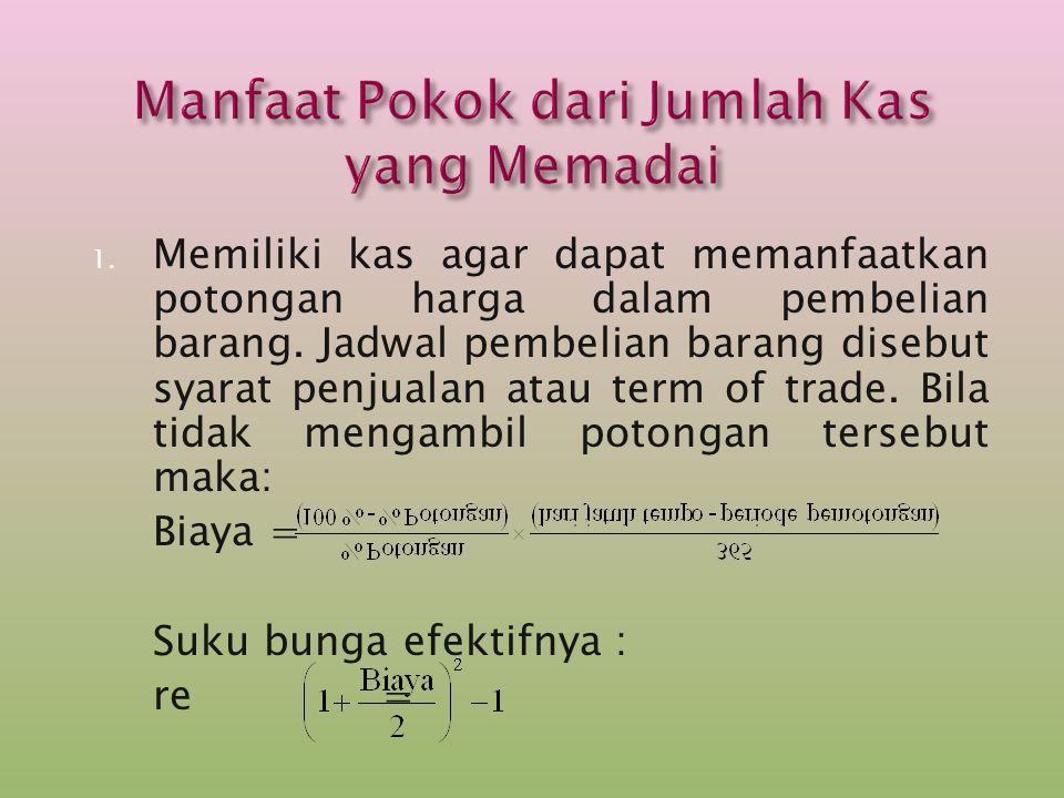 1. Memiliki kas agar dapat memanfaatkan potongan harga dalam pembelian barang. Jadwal pembelian barang disebut syarat penjualan atau term of trade. Bi