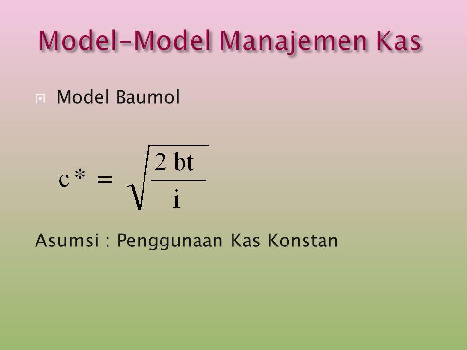  Model Baumol Asumsi : Penggunaan Kas Konstan