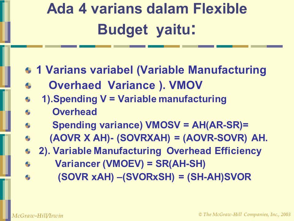 © The McGraw-Hill Companies, Inc., 2003 McGraw-Hill/Irwin 4. Menggunakan tarif untuk bagian variabel dari biaya, menyusun sebagai budget yg memperliha
