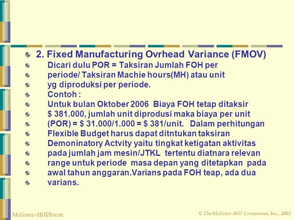 © The McGraw-Hill Companies, Inc., 2003 McGraw-Hill/Irwin Ada 4 varians dalam Flexible Budget yaitu : 1 Varians variabel (Variable Manufacturing Overh