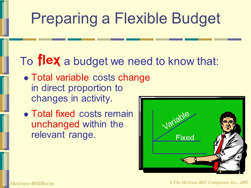 © The McGraw-Hill Companies, Inc., 2003 McGraw-Hill/Irwin Flexible Budgets Improve performance evaluation. May be prepared for any activity level in t