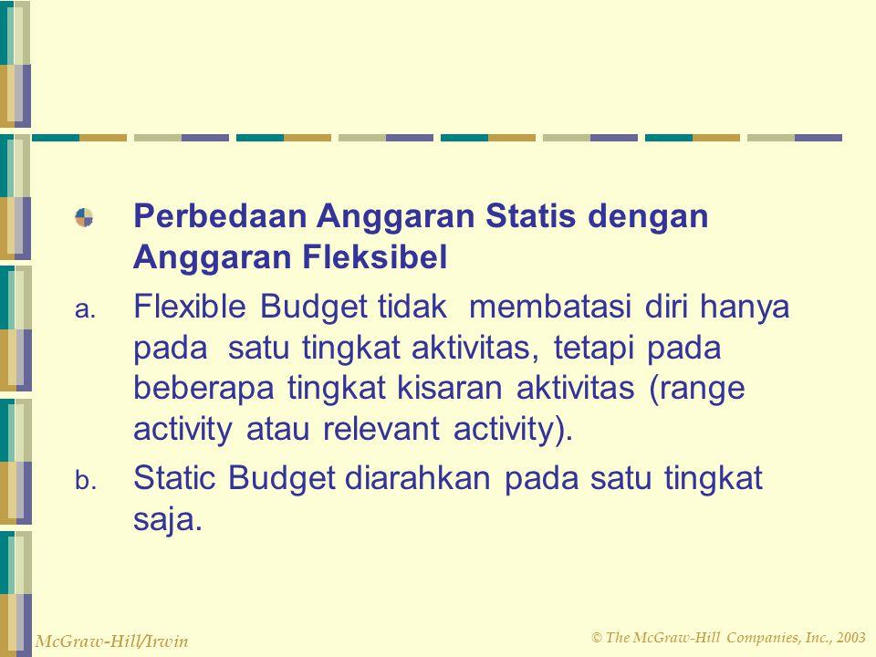 © The McGraw-Hill Companies, Inc., 2003 McGraw-Hill/Irwin Flexible budget berbeda denga anggaran Statis. Anggaran statis adalah anggaran yang dibuat u