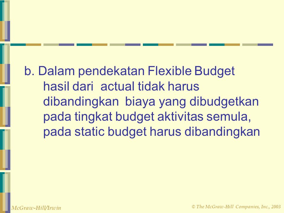 © The McGraw-Hill Companies, Inc., 2003 McGraw-Hill/Irwin 2,050 hours 2,100 hours × × $5 per hour $5 per hour Variable Overhead Variances – Example Actual Flexible Budget Flexible Budget Variable for Variable for Variable Overhead Overhead at Overhead at Incurred Actual Hours Standard Hours $10,950 $10,250 $10,500 Spending variance $700 unfavorable Efficiency variance $250 favorable $450 unfavorable flexible budget total variance