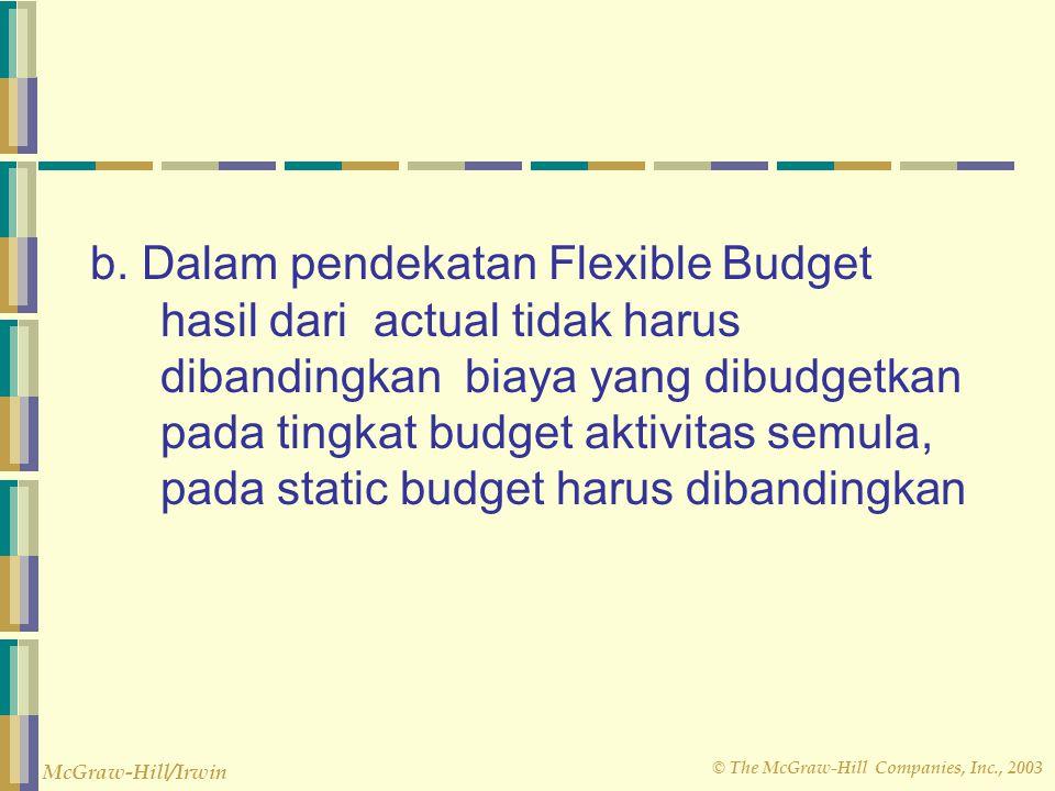 © The McGraw-Hill Companies, Inc., 2003 McGraw-Hill/Irwin Perbedaan Anggaran Statis dengan Anggaran Fleksibel a. Flexible Budget tidak membatasi diri