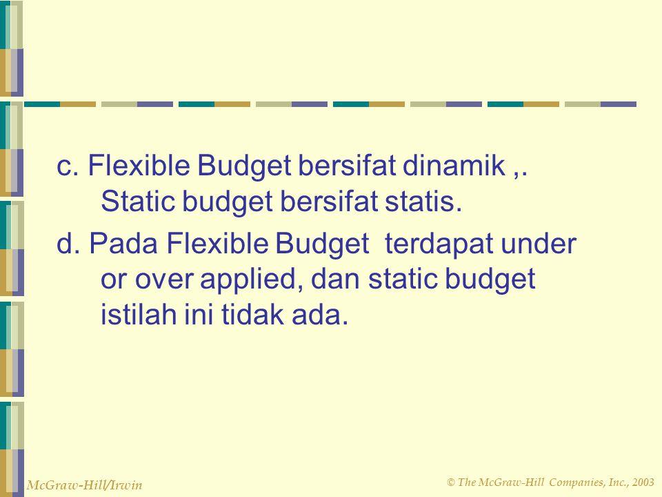 © The McGraw-Hill Companies, Inc., 2003 McGraw-Hill/Irwin b. Dalam pendekatan Flexible Budget hasil dari actual tidak harus dibandingkan biaya yang di