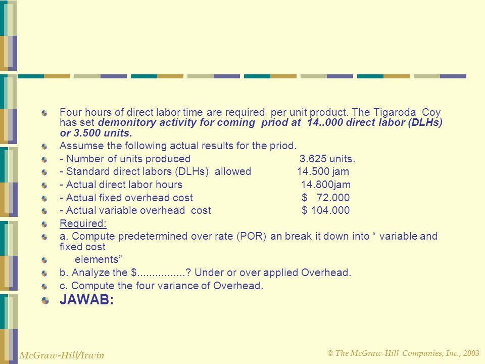 © The McGraw-Hill Companies, Inc., 2003 McGraw-Hill/Irwin CONTOH LAINNYA DARI FLEXIBLE BUDHET Data for manufacturing Overhead of Tiagaroda Company are