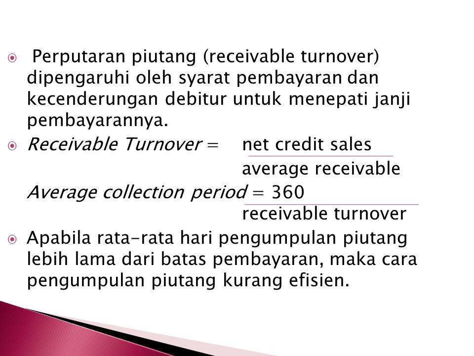  Perputaran piutang (receivable turnover) dipengaruhi oleh syarat pembayaran dan kecenderungan debitur untuk menepati janji pembayarannya.  Receivab