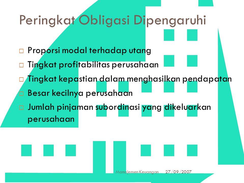 27/09/2007 Manajemen Keuangan 14 Peringkat Obligasi Dipengaruhi  Proporsi modal terhadap utang  Tingkat profitabilitas perusahaan  Tingkat kepastia