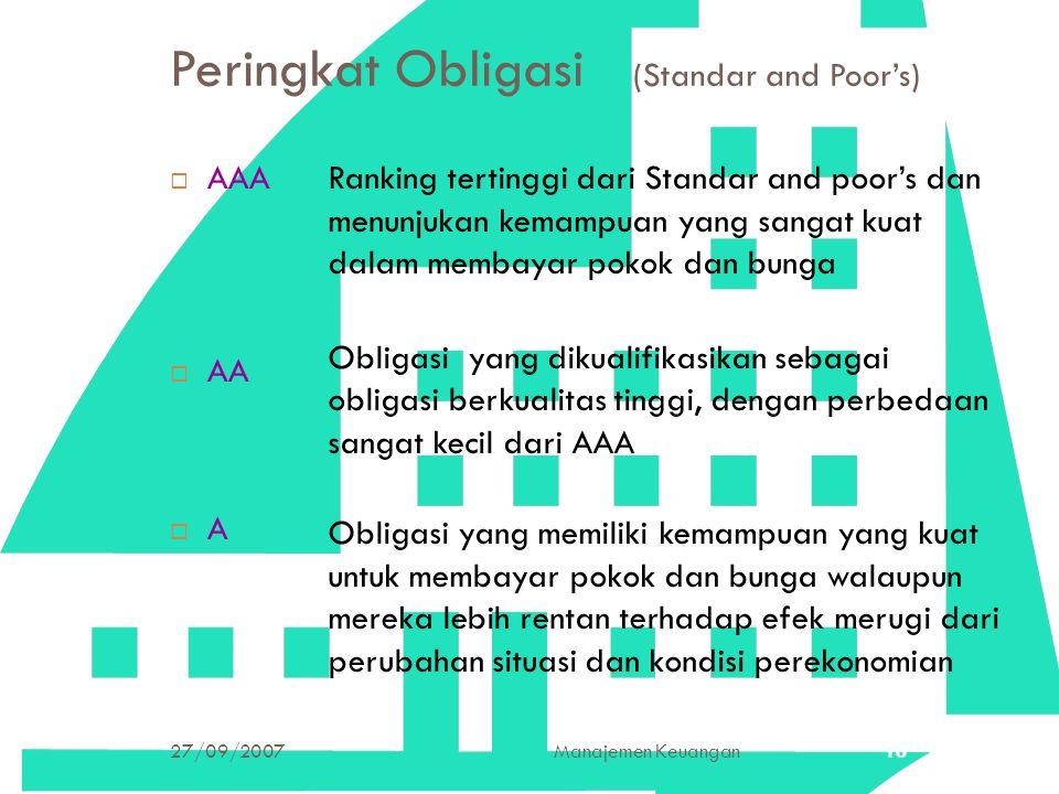 27/09/2007Manajemen Keuangan16 Peringkat Obligasi (Standar and Poor's)  AAA  AA  A Ranking tertinggi dari Standar and poor's dan menunjukan kemampu