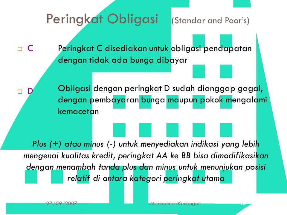 27/09/2007Manajemen Keuangan18 Peringkat Obligasi (Standar and Poor's) CDCD Peringkat C disediakan untuk obligasi pendapatan dengan tidak ada bung