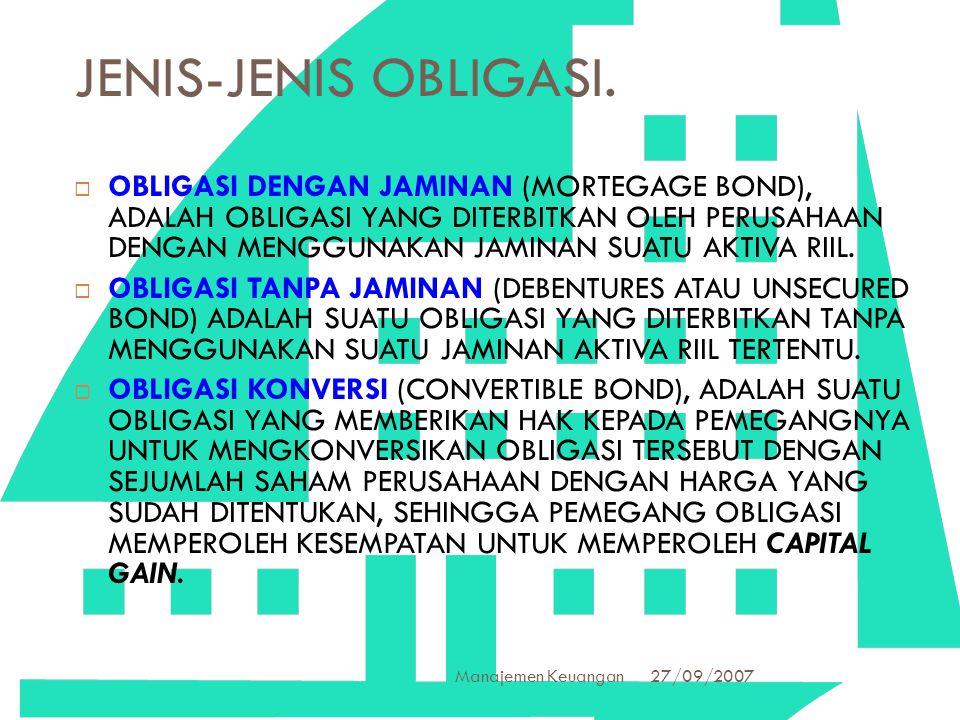 27/09/2007 Manajemen Keuangan 19 JENIS-JENIS OBLIGASI.  OBLIGASI DENGAN JAMINAN (MORTEGAGE BOND), ADALAH OBLIGASI YANG DITERBITKAN OLEH PERUSAHAAN DE