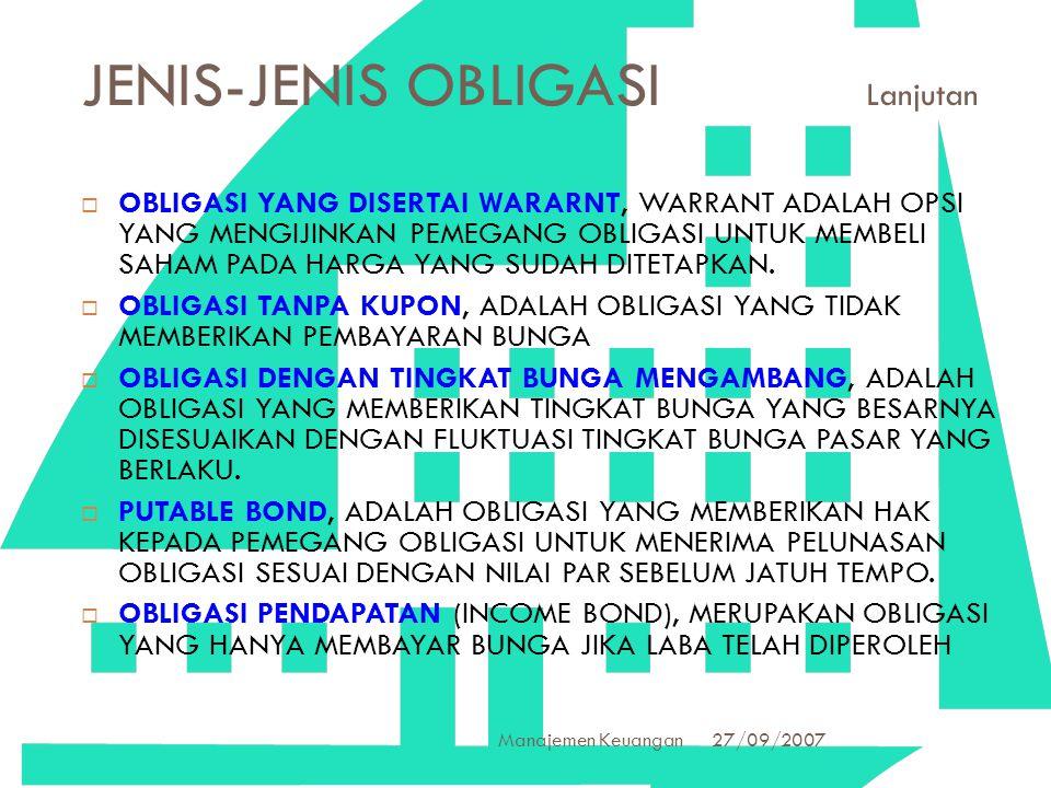 27/09/2007 Manajemen Keuangan 20 JENIS-JENIS OBLIGASI Lanjutan  OBLIGASI YANG DISERTAI WARARNT, WARRANT ADALAH OPSI YANG MENGIJINKAN PEMEGANG OBLIGAS