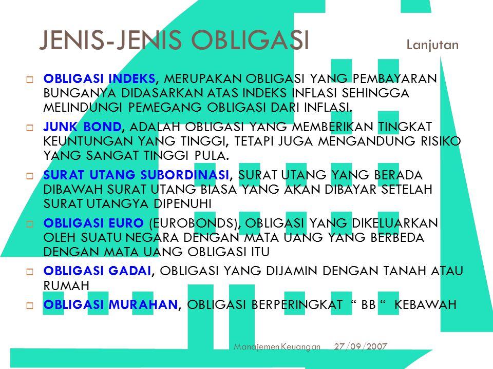 27/09/2007 Manajemen Keuangan 21 JENIS-JENIS OBLIGASI Lanjutan  OBLIGASI INDEKS, MERUPAKAN OBLIGASI YANG PEMBAYARAN BUNGANYA DIDASARKAN ATAS INDEKS I