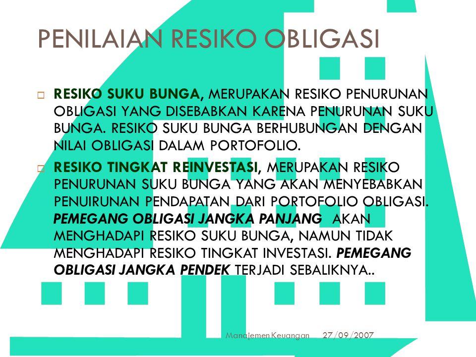 27/09/2007 Manajemen Keuangan 22 PENILAIAN RESIKO OBLIGASI  RESIKO SUKU BUNGA, MERUPAKAN RESIKO PENURUNAN OBLIGASI YANG DISEBABKAN KARENA PENURUNAN S