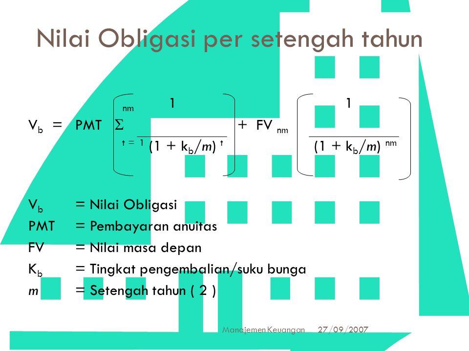 27/09/2007 Manajemen Keuangan 28 Nilai Obligasi per setengah tahun nm 1 1 V b =PMT  + FV nm t = 1 (1 + k b /m) t (1 + k b /m) nm V b = Nilai Obligasi
