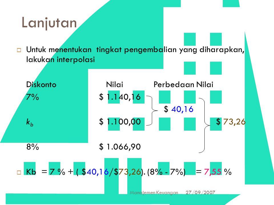 27/09/2007 Manajemen Keuangan 35 Lanjutan  Untuk menentukan tingkat pengembalian yang diharapkan, lakukan interpolasi Diskonto Nilai Perbedaan Nilai