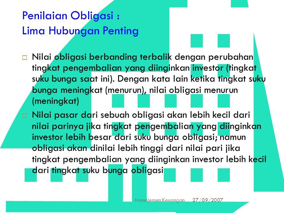 27/09/2007 Manajemen Keuangan 36 Penilaian Obligasi : Lima Hubungan Penting  Nilai obligasi berbanding terbalik dengan perubahan tingkat pengembalian