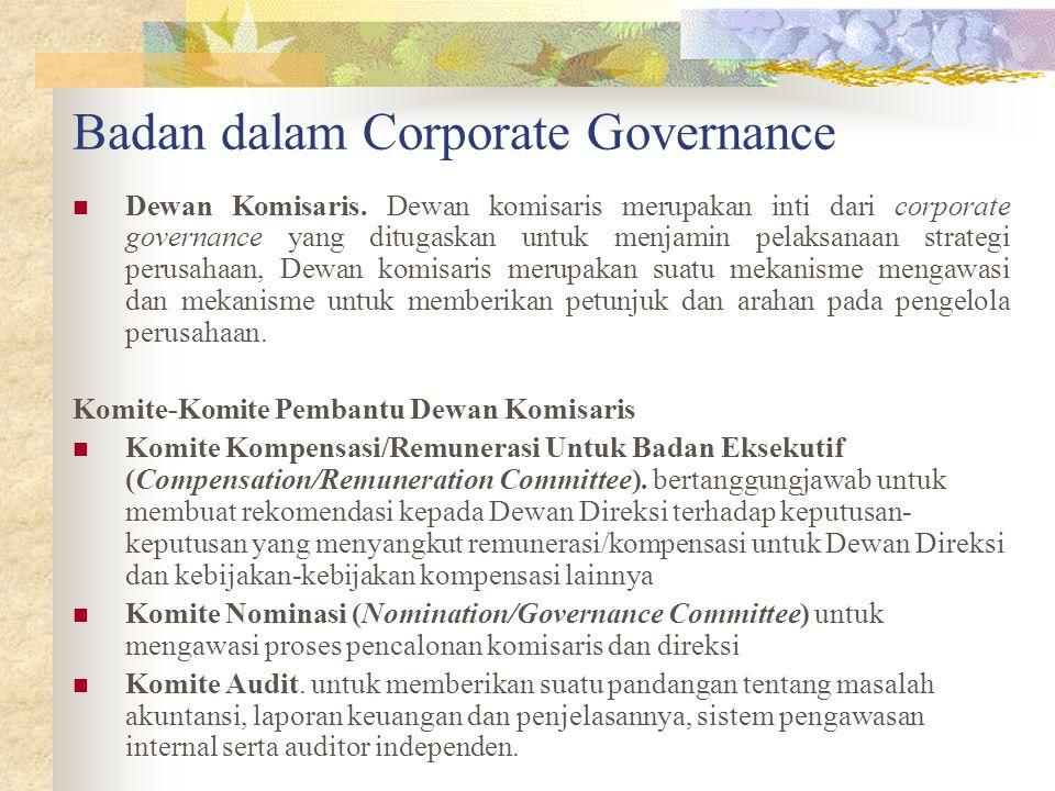 Badan dalam Corporate Governance Dewan Komisaris.