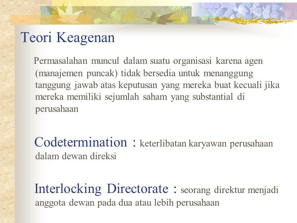 Teori Keagenan Permasalahan muncul dalam suatu organisasi karena agen (manajemen puncak) tidak bersedia untuk menanggung tanggung jawab atas keputusan yang mereka buat kecuali jika mereka memiliki sejumlah saham yang substantial di perusahaan Codetermination : keterlibatan karyawan perusahaan dalam dewan direksi Interlocking Directorate : seorang direktur menjadi anggota dewan pada dua atau lebih perusahaan