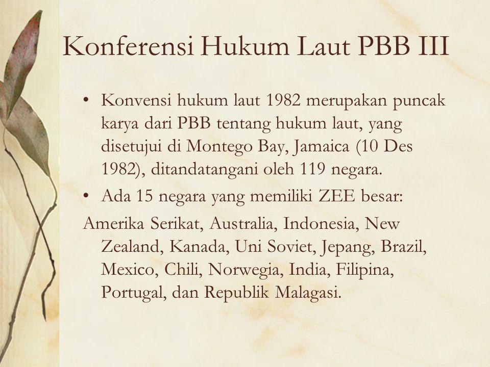 Konferensi Hukum Laut PBB III Konvensi hukum laut 1982 merupakan puncak karya dari PBB tentang hukum laut, yang disetujui di Montego Bay, Jamaica (10