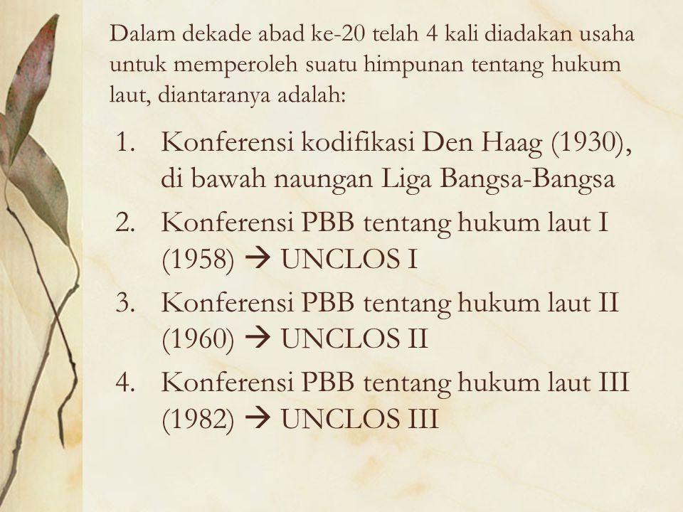 Dalam dekade abad ke-20 telah 4 kali diadakan usaha untuk memperoleh suatu himpunan tentang hukum laut, diantaranya adalah: 1.Konferensi kodifikasi De