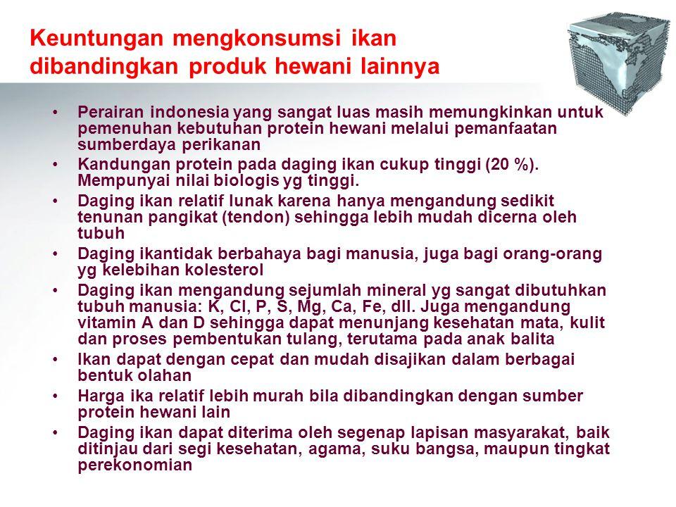 Keuntungan mengkonsumsi ikan dibandingkan produk hewani lainnya Perairan indonesia yang sangat luas masih memungkinkan untuk pemenuhan kebutuhan prote