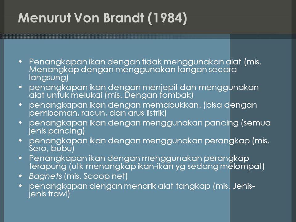 Menurut Von Brandt (1984) Penangkapan ikan dengan tidak menggunakan alat (mis. Menangkap dengan menggunakan tangan secara langsung) penangkapan ikan d