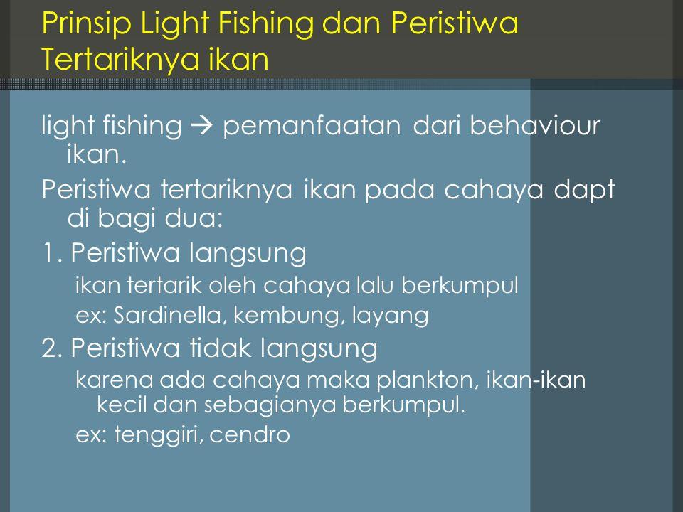Prinsip Light Fishing dan Peristiwa Tertariknya ikan light fishing  pemanfaatan dari behaviour ikan. Peristiwa tertariknya ikan pada cahaya dapt di b