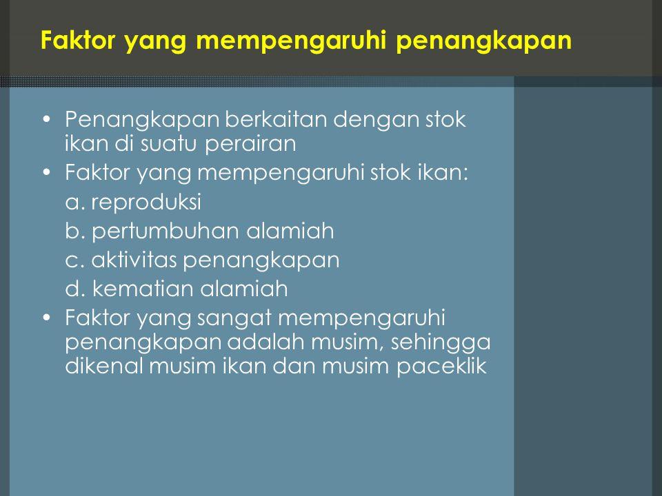 Faktor yang mempengaruhi penangkapan Penangkapan berkaitan dengan stok ikan di suatu perairan Faktor yang mempengaruhi stok ikan: a. reproduksi b. per