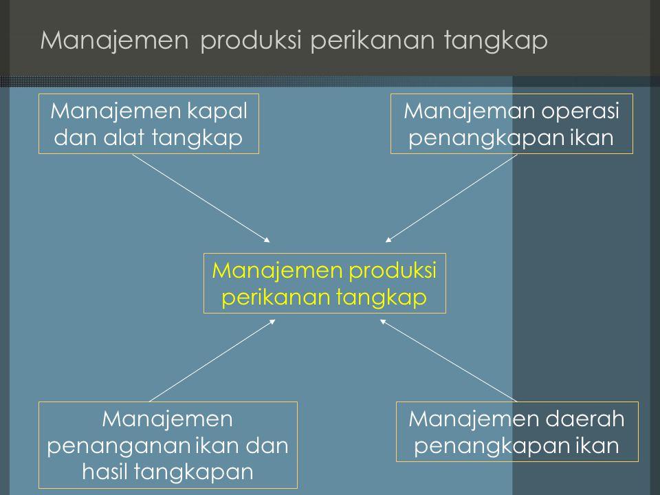 Manajemen produksi perikanan tangkap Manajemen kapal dan alat tangkap Manajeman operasi penangkapan ikan Manajemen daerah penangkapan ikan Manajemen p