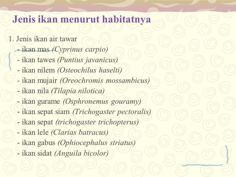 Jenis ikan menurut habitatnya 1. Jenis ikan air tawar - ikan mas (Cyprinus carpio) - ikan tawes (Puntius javanicus) - ikan nilem (Osteochilus haselti)