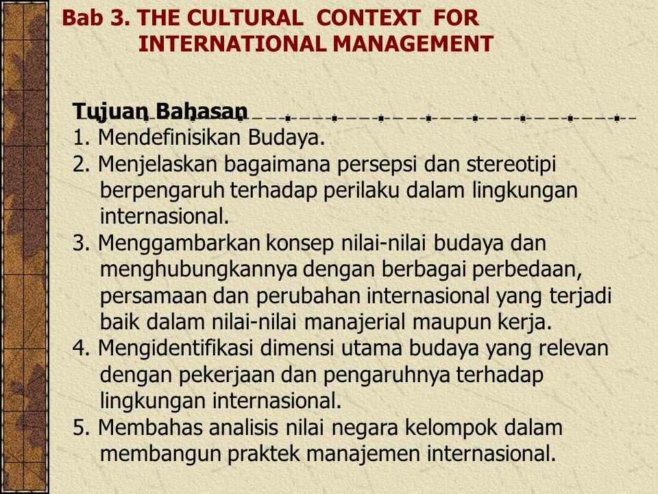 Bab 3.THE CULTURAL CONTEXT FOR INTERNATIONAL MANAGEMENT Tujuan Bahasan 1.