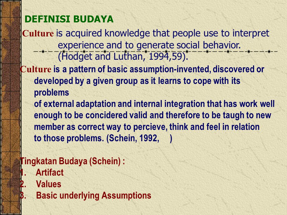 Bab 3. THE CULTURAL CONTEXT FOR INTERNATIONAL MANAGEMENT Tujuan Bahasan 1.