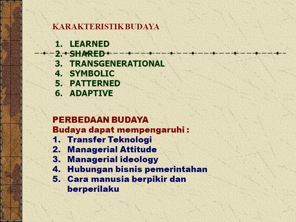 PERBEDAAN BUDAYA Budaya dapat mempengaruhi : 1.Transfer Teknologi 2.Managerial Attitude 3.Managerial ideology 4.Hubungan bisnis pemerintahan 5.Cara manusia berpikir dan berperilaku 1.LEARNED 2.SHARED 3.TRANSGENERATIONAL 4.SYMBOLIC 5.PATTERNED 6.ADAPTIVE KARAKTERISTIK BUDAYA