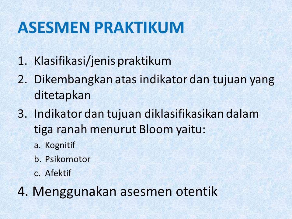 ASESMEN PRAKTIKUM 1.Klasifikasi/jenis praktikum 2.Dikembangkan atas indikator dan tujuan yang ditetapkan 3.Indikator dan tujuan diklasifikasikan dalam