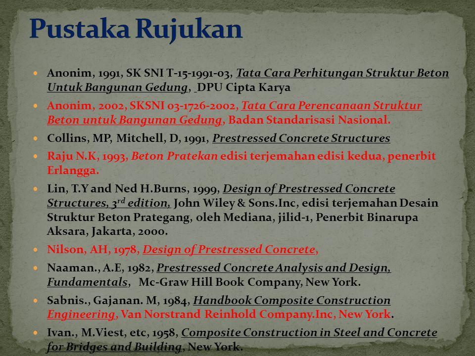 Anonim, 1991, SK SNI T-15-1991-03, Tata Cara Perhitungan Struktur Beton Untuk Bangunan Gedung, DPU Cipta Karya Anonim, 2002, SKSNI 03-1726-2002, Tata