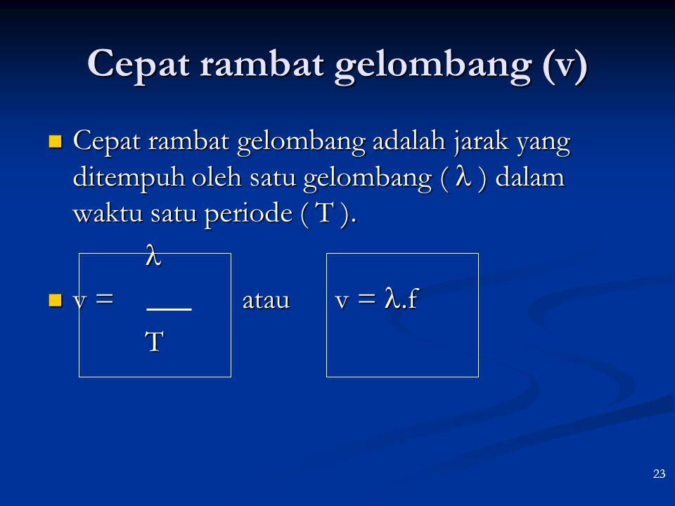 22 S  P v Fase titik P   p = t/T – x/ Fase titik P   p = t/T – x/ Persamaan gelompang di titik P Persamaan gelompang di titik P yp = A sin 2  (t