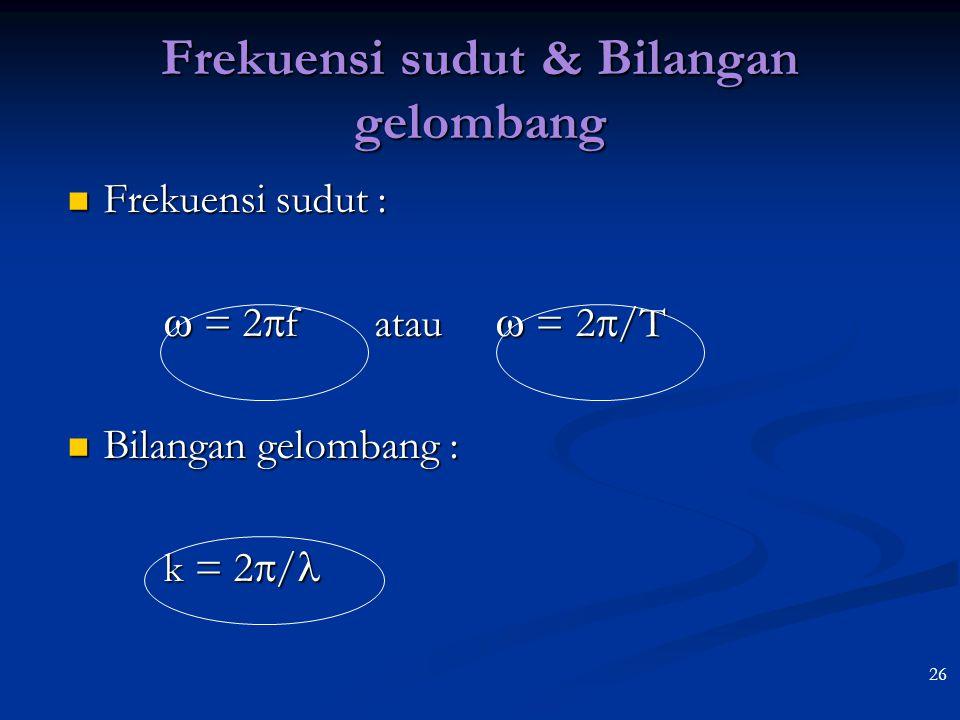 25 Memahami persamaan simpangan gelombang berjalan Simpangan di titik P Simpangan di titik P Amplitudo Amplitudo yp =  A sin (  t  kx) yp =  A sin