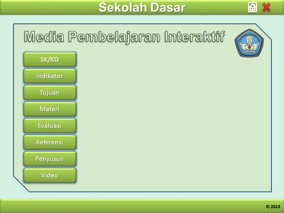 Sekolah Dasar SK/KD Indikator Tujuan Materi Evaluasi Referensi Penyusun Video © 2013
