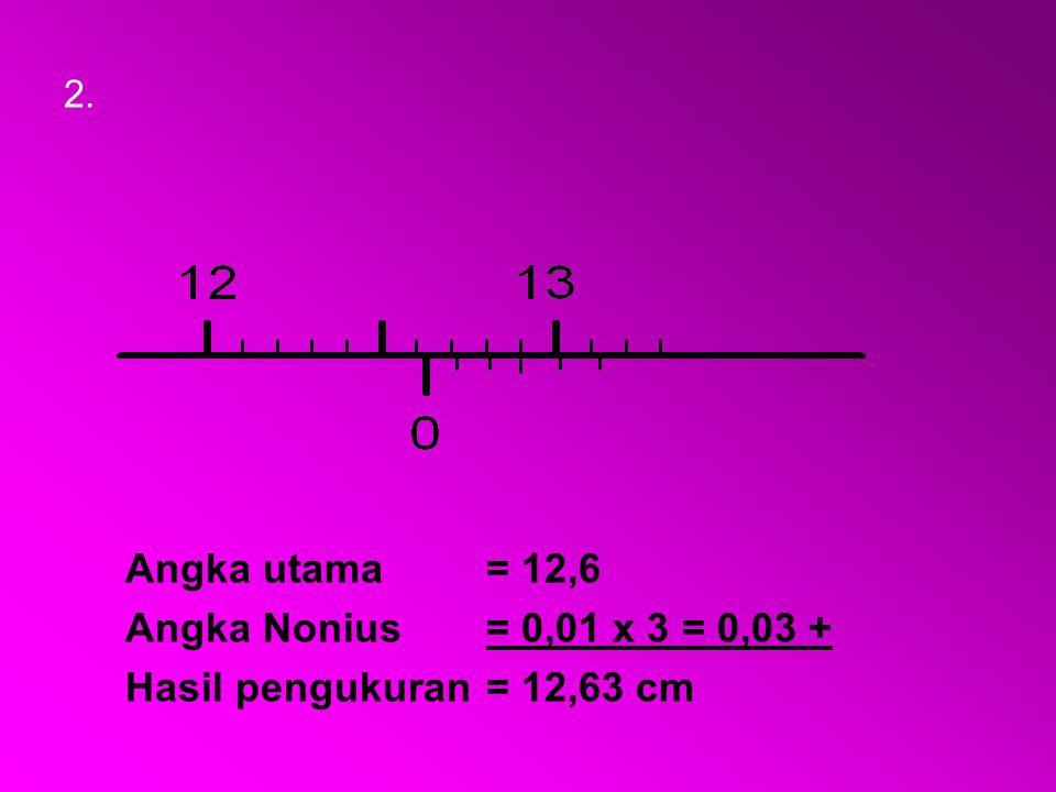 2. Angka utama = 12,6 Angka Nonius= 0,01 x 3 = 0,03 + Hasil pengukuran= 12,63 cm